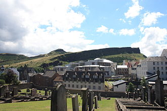 New Calton Burial Ground - New Calton Cemetery looking to Arthur's Seat and Holyrood Palace