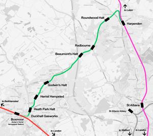 Hemel Hempstead railway station - Map of the Nickey Line through Hemel Hempstead, now closed