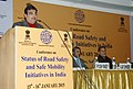 Nitin Gadkari addressing at the conference on Status of Road Safety and Safe Mobility Initiatives in India, in New Delhi. The Secretary, Ministry of Road Transport and Highways, Shri Vijay Chibber is also seen.jpg