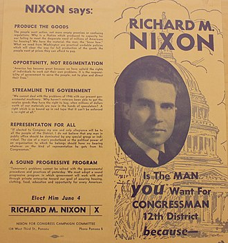 1946 California's 12th congressional district election - Nixon campaign flier for the primary election