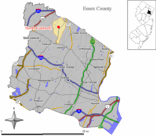 Map of North Caldwell in Essex County. Inset: Location of essex County highlighted in the State of New Jersey.