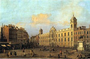 Charing Cross - Frontage onto Strand/Charing Cross of Northumberland House in 1752 by Canaletto. The statue of Charles I can be seen to the right of the painting. To the left can be seen the famous Golden Cross Inn, with signboard outside.