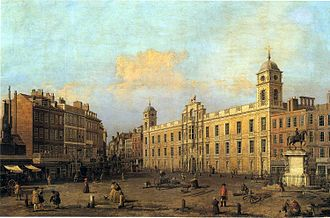 Townhouse (Great Britain) - The Strand front of Northumberland House in 1752 by Canaletto. Note the Percy Lion atop the central facade.