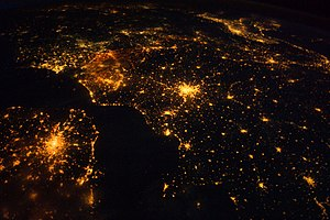 Geography of Europe - Image: Northwestern Europe at Night