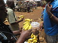 Nothing tastes better than banana in the village.JPG