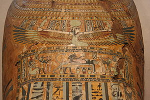 Nut (goddess) - Great goddess Nut with her wings stretched across a coffin