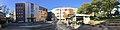 Nytorget, Jernbanegata, Torggata, Mo i Rana, Norway, 2017-10-09, Tinghuset (Rana tinghus tingrett), Universitet Nord Campus Helgeland, cafe Babettes, bibliotek – cropped distorted panorama a.jpg