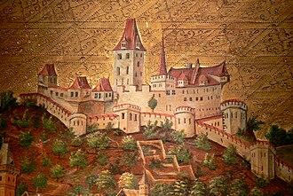 Veste Oberhaus - View of the fortress in the 15th century, Oberhausmuseum