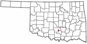 Wynnewood, Oklahoma - Image: OK Map doton Wynnewood