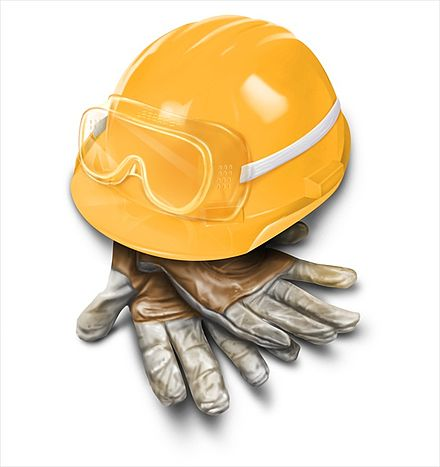 Leather craftsman gloves, safety goggles, and a properly fitted hardhat are crucial for proper safety in a construction environment. Occupational Safety Equipment.jpg