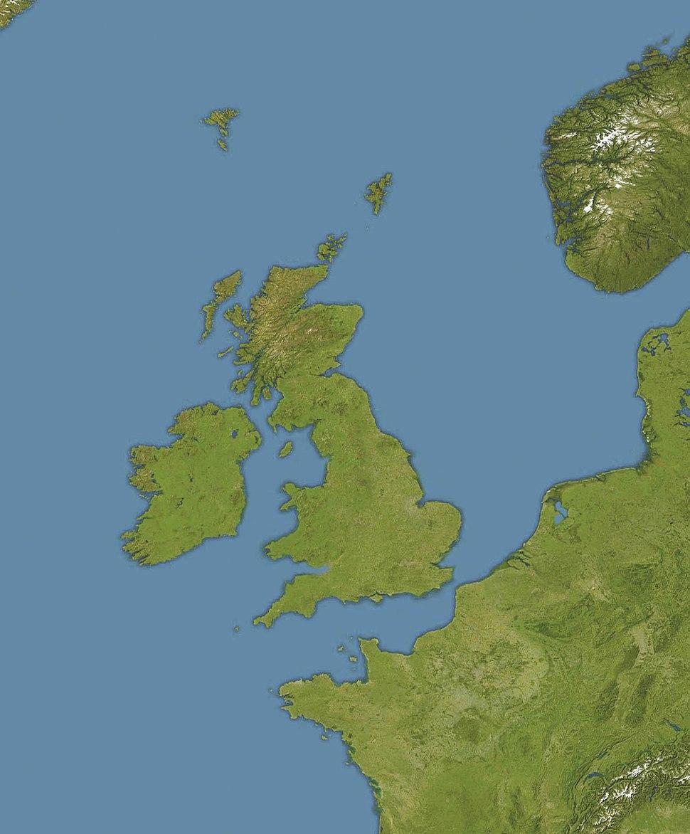 U-47 (1938). Карта розташування: Моря навколо Британських островів