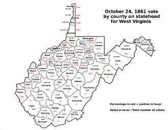 Virginia in the American Civil War - October 24, 1861 county vote for West Virginia statehood