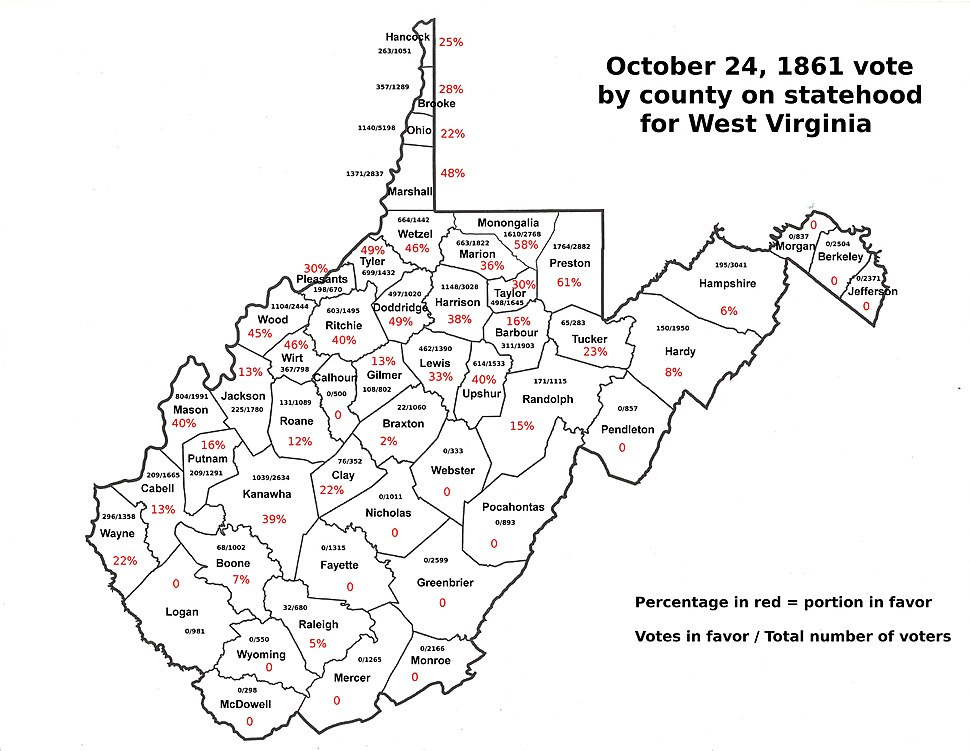 October 24, 1861 county vote for West Virginia statehood