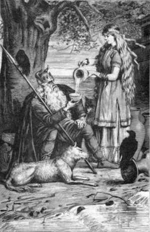Sága and Sökkvabekkr - Sága pours Odin a drink in an illustration (1893) by Jenny Nyström.