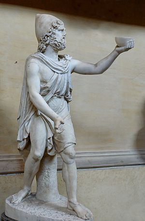 Exomis - Odysseus wearing the pilos hat, an exomis and a chlamys