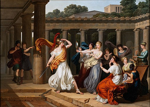 Odysseus recognises Achilles amongst the daughters of Lycomedes, by Louis Gauffier