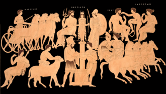 Oenomaus - King Oenomaus, Hippodamia, and Olympian gods. Illustration from an ancient vase.