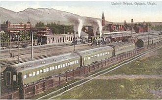 History of the Union Pacific Railroad - Passengers changed cars at Ogden, Utah, from Union Pacific to Southern Pacific, which took them to California, 1910