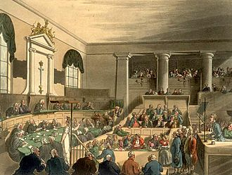 Court - A trial at the Old Bailey in London as drawn by Thomas Rowlandson and Augustus Pugin for Ackermann's Microcosm of London (1808–11).