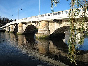 Dumbarton - The Old Dumbarton Bridge over the River Leven was built in 1765 by John Brown of Dumbarton, at the site of a ferry crossing. It was constructed at the behest of the Duke of Argyll, who was anxious to obtain access to Glasgow from his estate at Rosneath. The bridge, with five segmental arches with rounded cutwaters, resulted in the extension of Dumbarton to West Bridgend. It is now B-listed and was refurbished in 2006.