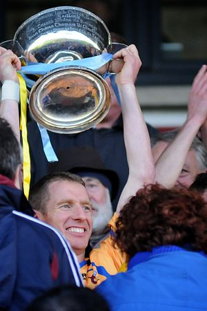 Galway Senior Hurling Championship - Ollie Canning of Portumna accepting the 2013 Galway Senior Hurling Championship trophy at Pearse Stadium, Galway