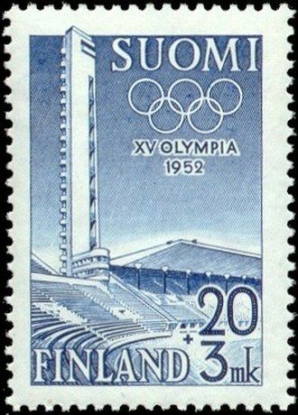 1952 Summer Olympics - Finnish postage stamp featuring the Helsinki Olympic Stadium