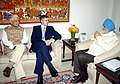 Omar Abdullah meeting the Deputy Chairman, Planning Commission, Shri Montek Singh Ahluwalia, for finalizing plan size for 2012-13 for the State, in New Delhi. The Minister of State for Planning.jpg