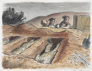 Edward Ardizzone - On the Road to Tripoli – a Cup of Tea for the Burial Party (1943) (Art.IWM ART LD 3035)
