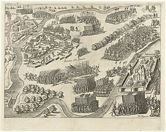 Siege of Knodsenburg - Image: Ontzet van de schans Knodsenburg in 1591 door Prins Maurits Relief of the siege of fort Knodsenburg by Prince Maurice (July 25, 1591)(Bartholomeus Willemsz. Dolendo)