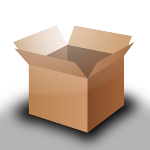 English: A square open cardboard box. Based on...