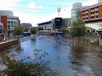Reading, Berkshire - River Kennet during the 2007 floods at the riverside level of The Oracle