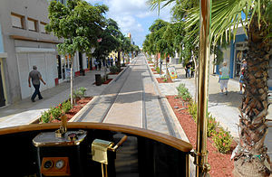 Trams in Oranjestad - View of the track on Caya B. Croes, near Plaza Chipi Chipi