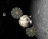 Rendered image of an Orion spacecraft in lunar...