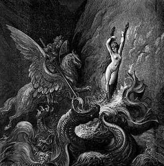 Princess and dragon - Ruggiero Rescuing Angelica, an illustration for Orlando Furioso by Gustave Doré
