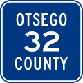 A blue square with a white border containing the text Otsego County 32 in white.