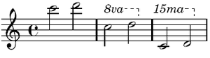 An example of the same two notes expressed regularly, in an 8va bracket, and in a 15ma bracket.
