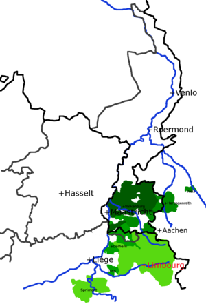 "Duchy of Limburg - This shows the medieval ""lands of Overmaas"" and the Duchy of Limburg possessed in the Middle Ages by the Dukes of Brabant. Together these formed one province in the Seventeen Provinces, sometimes referred to as Limburg. The dark lines are modern borders."
