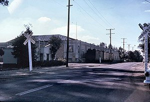 Yorba Linda, California - The Sunkist citrus packing house (later a 24 Hour Fitness gym) located on Yorba Linda Blvd in 1961. Soon after this photo was taken, Yorba Linda would transform from a rural community to a suburban one.