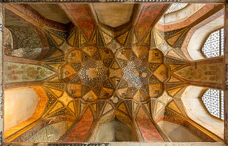 Ceiling in one of the rooms of Hasht Behesht, Isfahan, Iran.