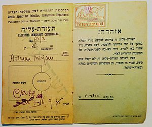 Aliyah - Certificate issued by the Jewish Agency in Warsaw, Poland, for immigrant to Mandatory Palestine, September 1935.