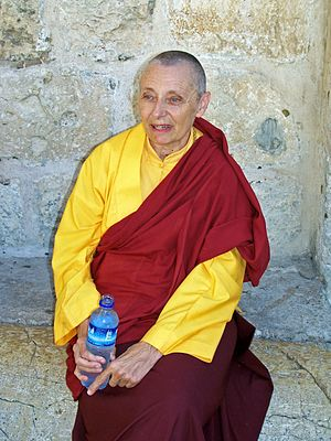 Women in Buddhism - Jetsunma Tenzin Palmo at the Church of the Holy Sepulchre in Jerusalem, September, 2006.