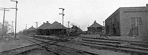 Pana, Illinois - Tracks and depots of the Baltimore and Ohio Railroad and Chicago and Eastern Illinois Railroad in Pana, 1913