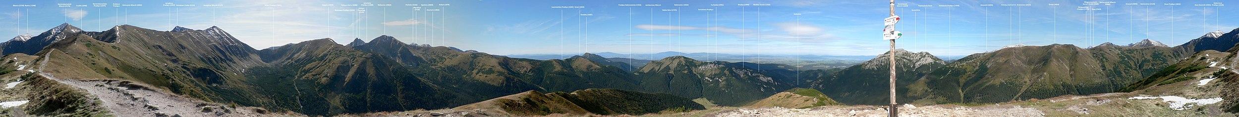 Panorama 360° z Trzydniowiańskiego Wierchu