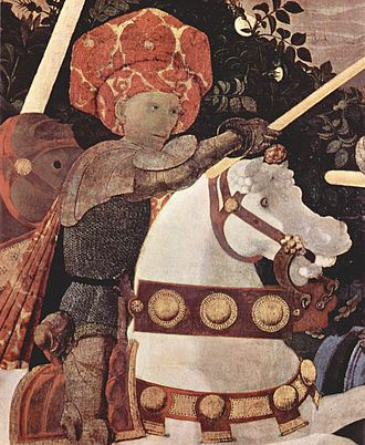 The Battle of San Romano - Detail of Niccolò da Tolentino from the left panel, now in London