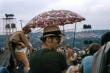 Parasol for the sun on the Woodstock festival field.jpg