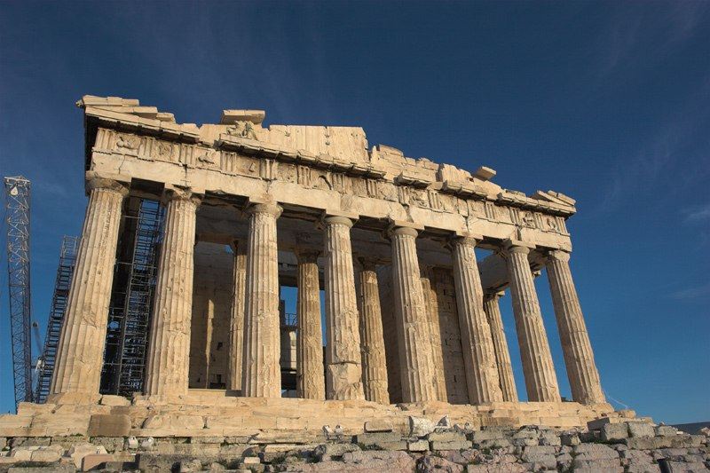 Parthenon from West with deep blue sky