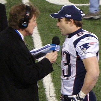 Wes Welker - Welker (right) being interviewed after the final game of the undefeated 2007 Patriots regular season