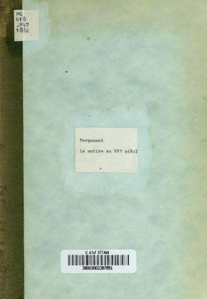 File:Pergameni - La Satire au XVIe siècle et les Tragiques d'Agrippa d'Aubigné, 1882.djvu