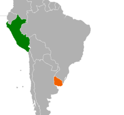 Map indicating locations of Peru and Uruguay