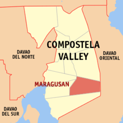 Map of Philippines with Maragusan highlighted